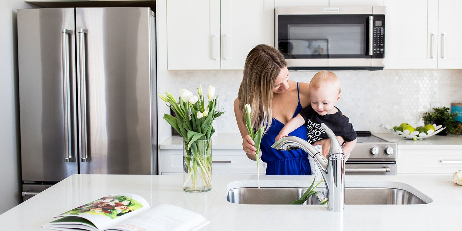 Woman and child in kitchen