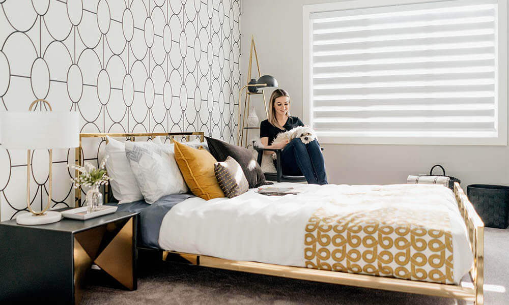 Woman in Bedroom with Dog
